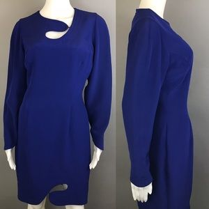 Vintage Abstract Dress Blue Cutout Size 6 VTG 80s